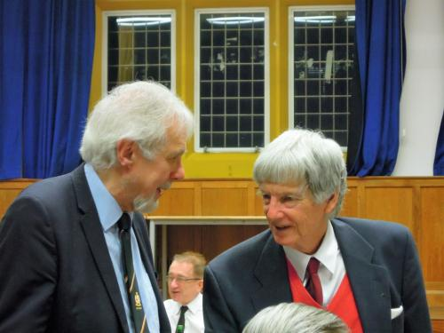 Brian Halfacre still trying to explain algebra to Chris Hare 50 years on